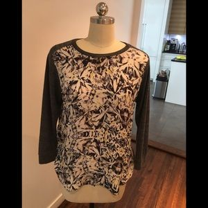 100% Silk Front and Knit Back Tee by Rebecca Taylo